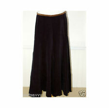 RALPH LAUREN Navy Blue Palazzo Pant in Brushed Cotton With Brown Suede Trim Sz 8