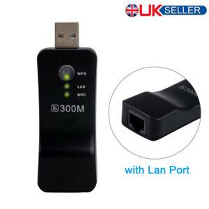 UK Wireless LAN Adapter Ethernet WiFi Electronic Dongle RJ-45 300M For Smart TV