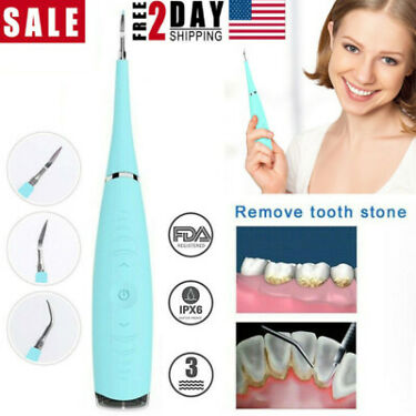 Electric Ultrasonic Tooth Stain Eraser Remover Teeth Whitening Dental Clean Tool
