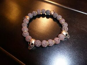 Brown Lava Beads w/ Copper Skulls BRACELET
