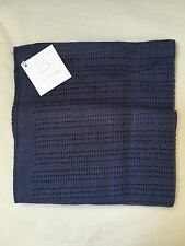 PEACOCK ALLEY LUXURY CROCHET BABY BLANKET 100% EGYPTIAN COTTON NAVY NWT $104