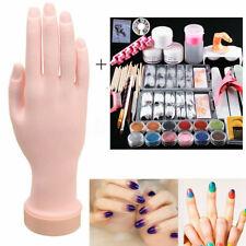Flexible Training Hand Acrylic Nail Art Set 12Pc Glitter Powder Tips Tools Kit