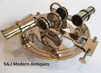 Round Antique Brass Pocket Sextant Navigation Nautical Marine Vintage Wooden Box