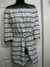 Blue Island black embriodery& white bathing suit cover up with tassels NWT Sz XL