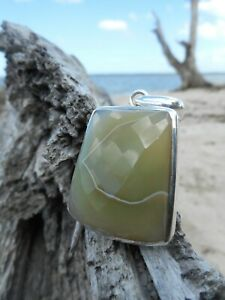 Large Faceted Chalcedony 925 Sterling Silver Pendant