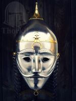 14ga Sca Larp Medieval Asian Armor Helmet With Face Plate & Chainmail