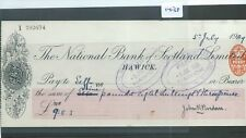 CHEQUE - CH1438 -  USED -1909 - NATIONAL BANK OF SCOTLAND, HAWICK