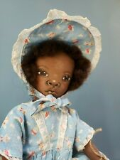 """Ooak Artist Sue Sizemore Cloth Painted Black Aa Doll Girl Toddler Signed 16"""""""
