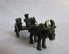 Vintage Style Unique Brass Handcrafted Bull Rider with Cart, Collectible