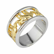 Women Lucky Elephant Ring Wedding Band 10KT Yellow Gold Filled Jewelry Size 6-10