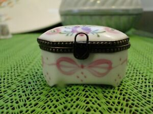 Limoges Peint Main Hope Chest Trinket Box, Signed, Exc. Cond., Has Named Couple
