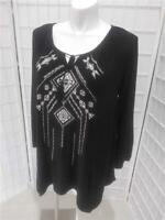 Women's Faded Glory 2X (18/20W)  Black White Embossed Summer Peasant Blouse