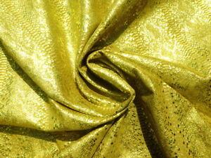 Pigskin leather hide skin Metallic Brassy Gold Python Snake Skin print 1.5oz