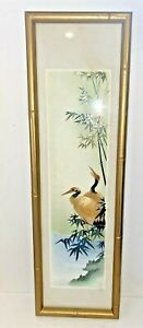 Vintage 3D Asian Bird Chinoiserie Art Collage Faux Bamboo Wood Frame TEXTURED