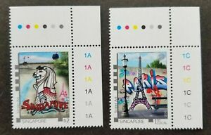 [SJ] Singapore France Joint Issue Street Art 2015 Eiffel Tower (stamp plate) MNH