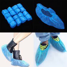 100* Disposable Shoe Cover Blue Anti Slip Plastic Cleaning Overshoes Boot Safety