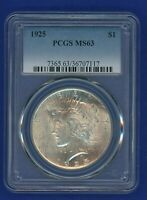 1925 P PCGS MS63 Peace Silver Dollar $1 US Mint Coin PCGS 1925-P MS-63