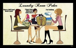 (Laundry Room Poker) sign,plaque, gift,gambling,clothes,cards,wall decor