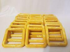 "Lot 30 Square 3"" Three Inch Yellow Marble Plastic Marbella Macrame Craft Rings"