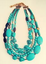 Goddess Necklace Gold Turquoise Multi Layer Statement Necklace Evening Wear