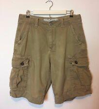 American Eagle Men's Dark Khaki Shorts Cargo Classic Size 32 Zip Fly 6 Pockets