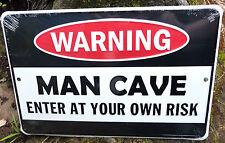 Warning Man Cave Novelty Sign Shed Bar Rumpus Games Room Mancave Mens Car Gift