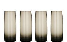 Stylish Set of 4 Crescendo Smoke Grey Hi Ball Tumblers Drinks Glasses Bar Glass