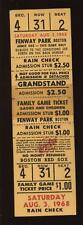 August 3rd 1968 Boston Red Sox Fenway Park Full Ticket