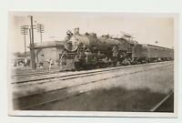1940s Real Photo Railroad Depot 4-8-2 Steam Locomotive Train #187 at Station
