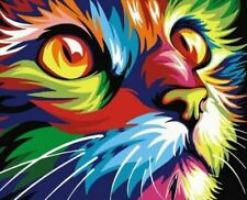 Colorful Cat DIY Paint By Numbers Number Canvas Painting Number Hand painted