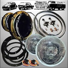 Classic Mini Halogen Headlamps & Headlight Bowl Kit With Pilot Bulbs Trim Wiring