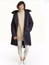 🦋H&M Blue Hooded Padded Anorak Parka Coat Size 42 12 14 🦋