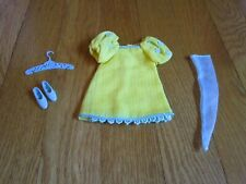 Vtg Barbie FRANCIE THE YELLOW BIT #1223 Dress Puffy Sleeves,Shoes,HangerStocking
