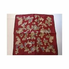 Vintage 1960s Scarf Maroon Navy Olive Champagne Paisley 19 inch Square