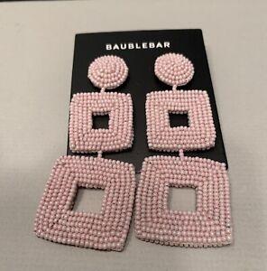 NWT Baublebar  Beaded Square Drop Pink Earrings