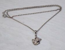 Vintage 925 STERLING SILVER Woman's Necklace Frog Figurine Pendant with Crystals