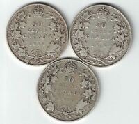 3 X CANADA 50 CENTS KING GEORGE V CANADIAN STERLING SILVER COINS 1918 1919 1920