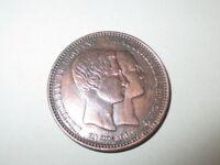 1853 Bronce Medaille Belgien Bronze Hochzeit Gedenk Herzog Herzogin Brabant