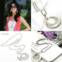 Hot Fashion Crystal Rhinestone Silver Plated Long Chain Pendant Necklace Gift