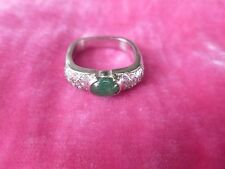 CHIC 14K GOLD , PAVE DIAMOND AND EMERALD RING SIZE 5 WEIGHING .165 TROY OZ