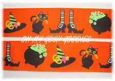 1.5 Halloween Witches Brew Witch Black Cat Pot Grosgrain Ribbon 4 Hairbow Bow