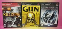 3 Game War Lot PS2 Playstation 2 Killzone Gun Medal of Honor European Assault