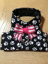 Hand Made Dog Harness Vest With White Dog Paws Blue Pink Now (2359) XS