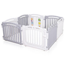 Large 8 Panels Baby Plastic Playpen Room Divider 3in1 Child Play Gate White Grey