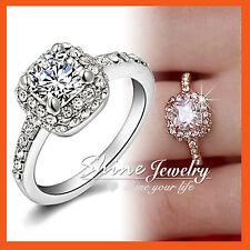 18K WHITE GOLD GF Genuine SIMULATED DIAMOND SOLID SQUARE ENGAGEMENT WEDDING RING