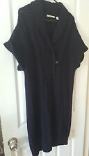 COUNTRY ROAD Cable Knit Wool V Neck Jumper Tunic Dress Navy Size M