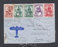 BELGIUM 1941 WWII SEMIPOSTALS ON CENSORED AIRMAIL COVER BRUSSELS TO SWITZERLAND