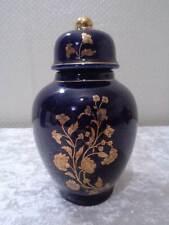 Design Porcelain Lid - Flowers/Blossom - Gold/Blue - NOS