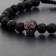 8mm Man Charm Lava Stone Zircon Black Skull Head Beads Braided Macrame Bracelet