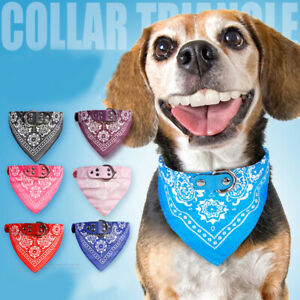 Pet Supplies Printed Leather PU Neckerchief Bandana Dog Collars Triangle Scarves